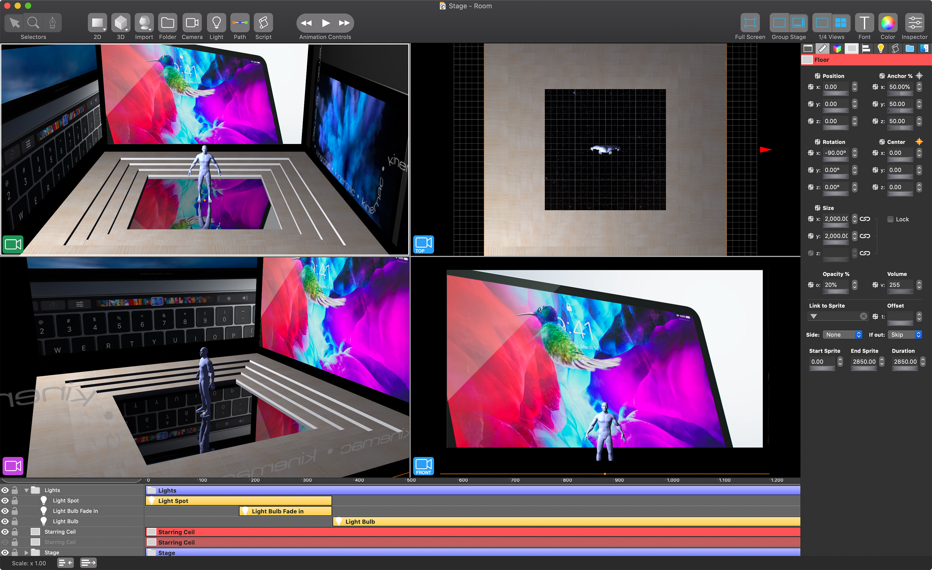 Kinemac 2.0.4 Released for macOS - 3D Real Time Animation Software Image